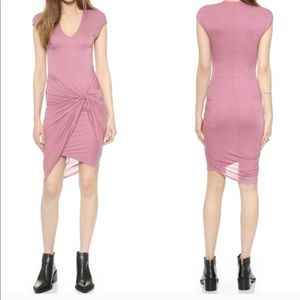NWT Helmut Lang Magenta V-Neck Twisted Midi Dress